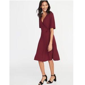 🆕Old Navy Maroon Faux Wrap Tye Jersey Dress